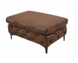 Chesterfield moderná obdĺžniková taburetka Modern Barock v hnedom koženom poťahu 90cm