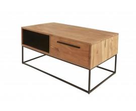 Moderný masívny konferenčný stolík Linear z dreva akácie s čiernymi kovovými nohami a úložným priestorom 110cm