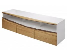 Moderný dlhý biely TV stolík so zásuvkami z masíneho dubového dreva 180cm