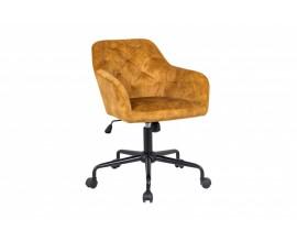 Chesterfield zamatová kancelárska stolička Berthe na kolieskach v žltom poťahu 89cm
