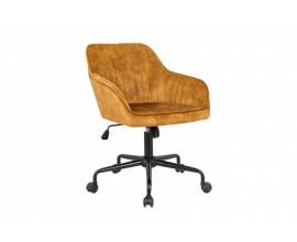 Moderná žltá kancelárska stolička Vittel s čiernymi kovovými nohami 89cm