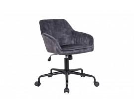 Moderná otočná kancelárska stolička Vittel v šedom poťahu s kovovými nohami na kolieskach 89cm
