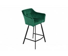 Dizajnová moderná zelená barová stolička Garret s tenkými čiernymi kovovými nohami 100cm