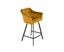 Moderná zamatová žltá barová stolička Garret s čiernou kovovu konštrukciou 100cm