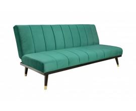 Retro zamatová zelená rozkladacia sedačka Taxill na vysokých nožičkách 180cm