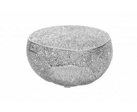 Kovový okrúhly konferenčný stolík Hoja so strieborným povrchom 80cm