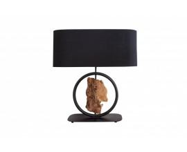 Moderná čierna stolná lampa Elements s drevenými prvkami 58cm