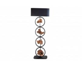 Koloniálna vysoká stojaca lampa Elements s oválnym tienidlom a drevenými prvkami 147cm