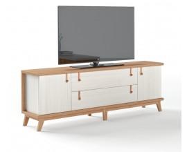 Luxusný TV stolík Sajonia z masívneho dreva so zásuvkami a dvierkami 183cm