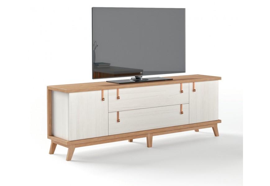 Luxusný TV stolík Sajonia z masívneho dreva s dvomi zásuvkami a dvierkami na nožičkách