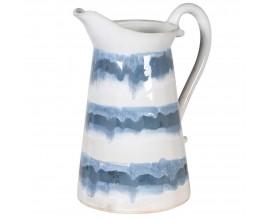 Provensálsky keramický džbán Blair v modro-bielom odtieni 28cm