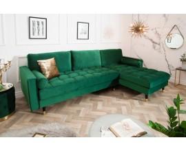 Retro dizajnová rohová sedačka Velluto smaragdová zelená 260cm