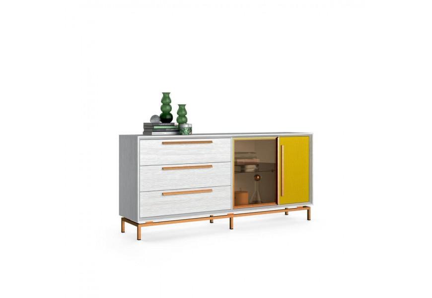 Moderná luxusná drevená komoda Estoril s kovovou konštrukciou so zásuvkami a dvierkami
