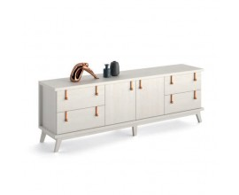 Luxusný TV stolík Sajonia z masívneho dreva so štyrmi zásuvkami a dvierkami 200cm