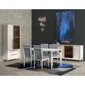 Luxusná jedálenská stolička Fanny s čalúnením a masívnymi nohami 99cm