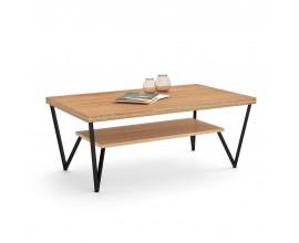 Luxusný moderný konferenčný stolík Estoril z masívneho dreva s kovovými nohami 120cm
