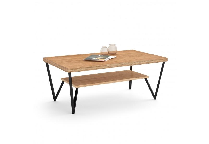 Štýlový moderný konferenčný stolík Estoril s odkladacou plochou z masívu s kovovou konštrukciou