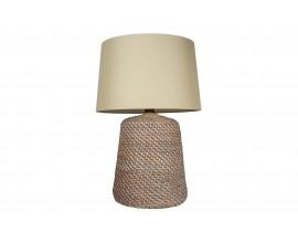 Ratanová sivá nočná lampa Roisse s béžovým ľanovým tienidlom 96cm