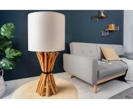 Koloniálna stolná lampa Euphoria z dreva s béžovým tienidlom 56cm