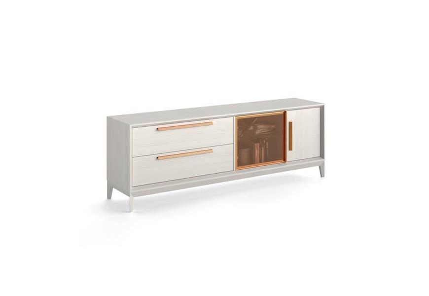 Moderný drevený TV stolík Estoril s úložným priestorom s kovovými a sklenenými prvkami