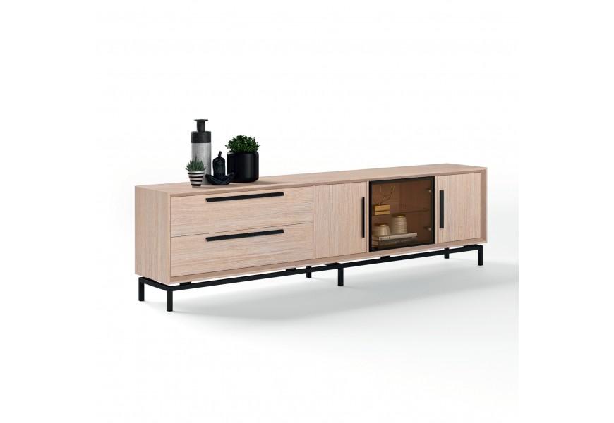 Jedinečný moderný TV stolík Estoril s drevenými a sklenenými dvierkami a zásuvkami na nožičkách