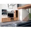 Moderný TV stolík Estoril zásuvkami a dvierkami z masívu a skla na nožičkách 233cm