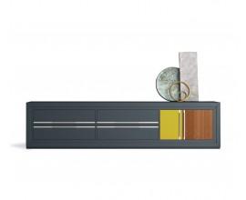 Luxusný moderný TV stolík Véneto z masívneho dreva s poličkami so zásuvkami a dvierkami 237cm