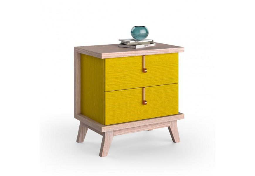 Luxusný nočný stolík Sajonia z masívneho dreva s dvomi zásuvkami 59cm