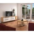 Luxusný masívny TV stolík Estoril so zásuvkami a dvierkami na nožičkách 233cm