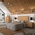 Masívna luxusná posteľ Estoril s hranatým čelom a čalúneným rámom na matrac 135/150/180cm