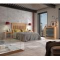 Moderná masívna posteľ Sajonia s čalúnenou podstavou na matrac 135/150/180cm