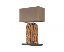 Vidiecka nočná lampa Misivo s drevenou podstavou a hnedým tienidlom 63cm
