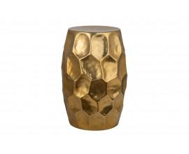 Moderný okrúhly príručný stolík Siliguri s kladivkovým povrchom v zlatom odtieni 30cm