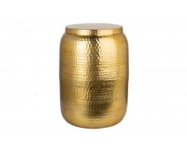 Moderný kruhový príručný stolík Siliguri v zlatom odtieni s kladivkovým povrchom 35cm