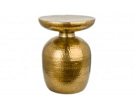 Orientálny okrúhly príručný stolík Siliguri v zlatom prevedení s kladivkovým povrchom 36cm