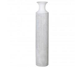 Dizajnová vysoká váza biela s dekórom