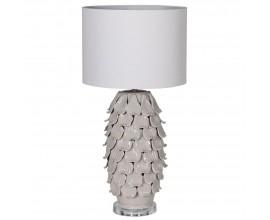 Art-deco luxusná keramická sivá stolná lampa Ayote s členitou dekoratívnou podtstavou a okrúhlym tienidlom z ľanu 70cm