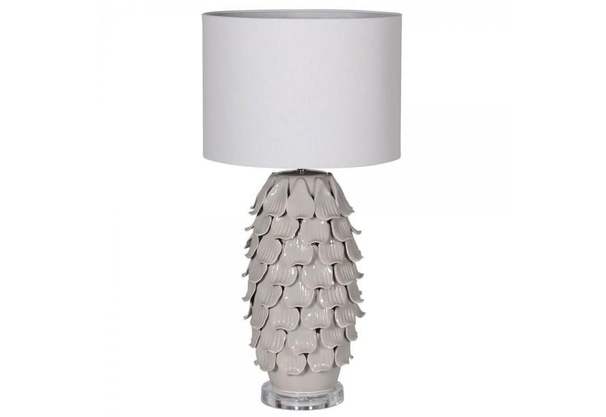 Štýlová sivá vysoká keramická stolná lampa Ayote v dekoratívnom tvare s bledým ľanovým tienidlom