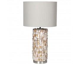 Štýlová Art-deco perleťová stolná lampa Taza s valcovým ľanovým tienidlom v béžovom odtieni