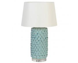 Art-deco porcelánová stolná lampa Azotea v tyrkysovom odtieni s textilným tienidlom 70cm