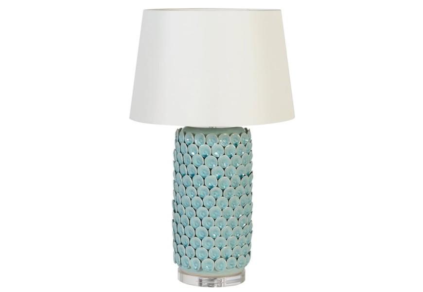 Luxusná tyrkysová vysoká stolná lampa Azotea s porcelánovou podstavou a bielym tienidlom v Art-deco štýle