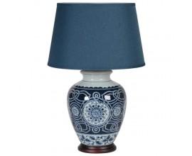 Orientálna modrá keramická stolná lampa Herlen s textilným tienidlom 70cm