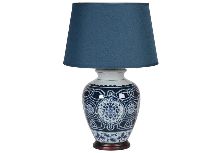Jedinečná porcelánová stolná lampa Herlen s orientálnym vzorom a modrým tienidlom