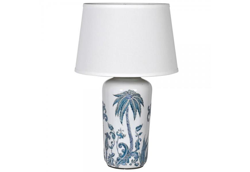 Jedinečná palmová stolná lampa Manaca s modro-bielou podstavou z porcelánu a ľanovým tienidlom