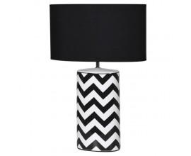 Moderná čierno-biela keramická stolná lampa Zigland s textilným tienidlom a geometrickým vzorom 65cm
