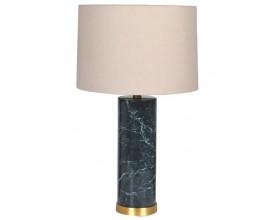 Art-deco luxusná mramorová zelená stolná lampa Narmal s ľanovým tienidlom 65cm