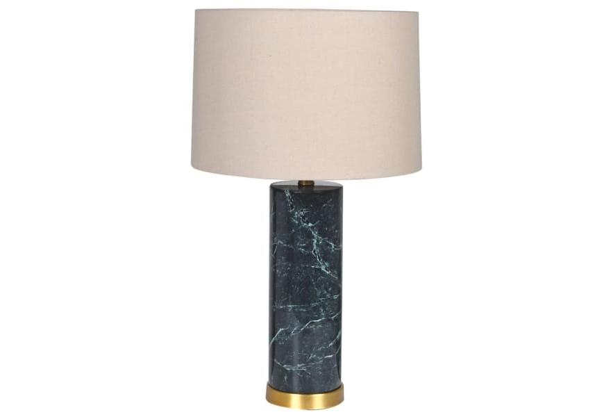 Štýlová Art-deco zelená stolná lampa Narmal s mramorovou podstavou a prírodným textilným tienidlom