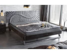 Moderná luxusná masívna manželská posteľ Cumbria v čiernej farbe na matrac 180x200cm