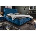 Moderná čalúnená modrá manželská posteľ Kreon s Chesterfield prešívanim na matrac 160x200cm