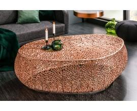 Orientálny konferenčný stolík Hoja z kovu v medenej farbe 122cm